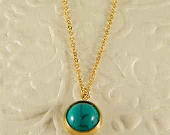 Turquoise gold necklace, Blue gold necklace, Turquoise pendant, Gem stone necklace, 14 k gold filled necklace, Gift for women, Gift for men