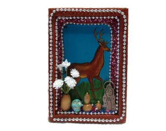 Mexican Loteria, Mexican Wood Nicho, Deer Buck Decor, Mexican Folk Art, Mexican Card, Loteria Nicho, Loteria Card, Mexican Kitsch