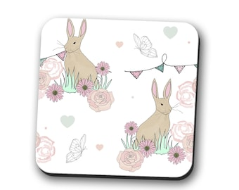 coaster, rabbits, bunnies, bunny, hare, rabbit lover gift, rabbit coaster, bunny coaster, gift for her, present for her, gift for women