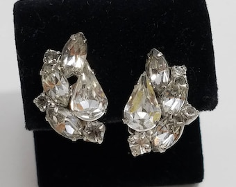 Gorgeous Rhinestone Cluster Clip Earrings