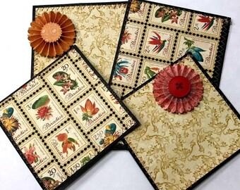 Elite4u Kam Scrapbook Sewn Mat set with Paper Flower Embellishments for a premade page album card border