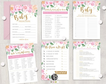 GIRL BABY SHOWER Games, Instant download Baby Shower Games, Pink Floral Baby Shower Games, Girl Baby Shower Games Printable, Pink Gold, 0207