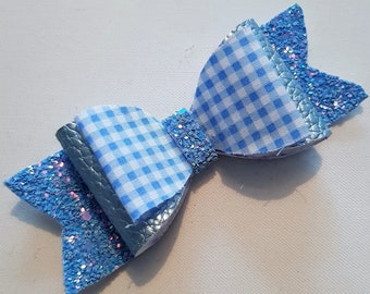 Blue and White Glitter Checked School Hair Bow