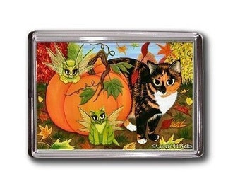 Calico Cat FAIRY CATS Pumpkin Autumn Fall Fantasy Art Magnet Cat Lovers Gifts