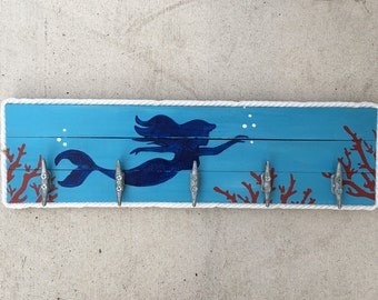 Mermaid Cleat Rack, Beach Towel Rack, Coastal Patio Hooks, Dock Cleat Rack, Coastal Decor
