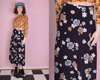 90s Floral Print Maxi Skirt/ Small/ 1990s