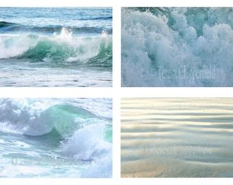 Beach Photography, Ocean Photography,Set of 4 Ocean Wave and Beach Prints,Sea Green Ocean Waves,Seascape,Coastal Blue Waves,Beach Home Decor
