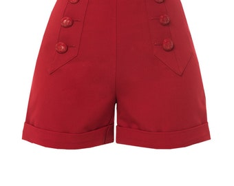 RED SAILOR SHORTS, 1940s style, high waisted, swing pants