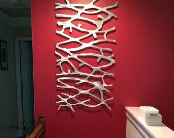 Metal Wall Art Sculpture  Abstract Wall Sculpture Metallic Home Decor Aluminum 48 x 26