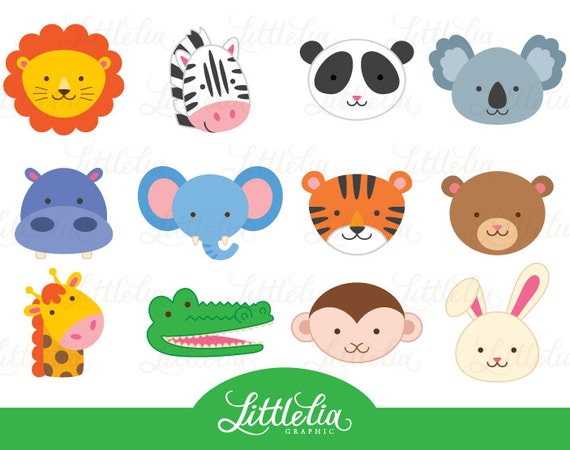 jungle animal head clipart jungle animal clipart animal rh etsy com safari animal clipart safari animal clipart