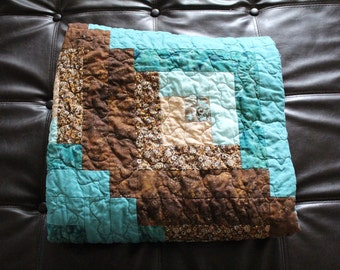 Log Cabin Quilt, Aqua, Teal, Green,  Beige, Chocolate Brown, Lap Sized Quilt, Cotton Blanket, Chair Throw, Log Cabin Bedding, Paisley Print