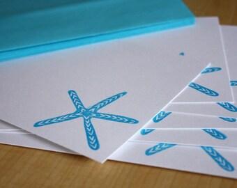 Blue Starfish Stationery - Starfish Note Cards - Beach Stationery - Seashore Note Cards - Beach Gift - Hand Printed Stationery - Set of 6