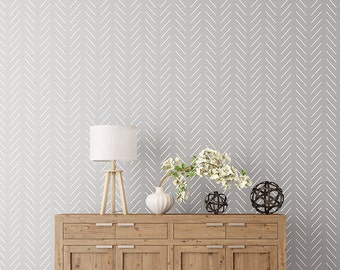 Herringbone Simple Wall Stencil   Herringbone Stencil And Large Wall Stencil,  Scandinavian Stencil Pattern For