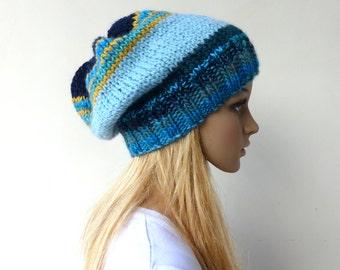Womens Blue Slouchy hat Multi Colour Beanie hat womens blue knit hat