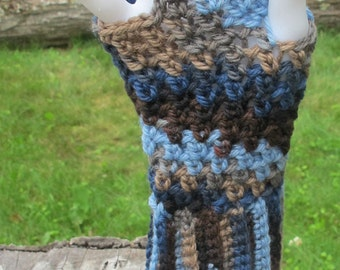 Blue and Brown Multi Color Crochet Short Wool Fingerless Gloves Handwarmers Texting Gloves Ready To Ship