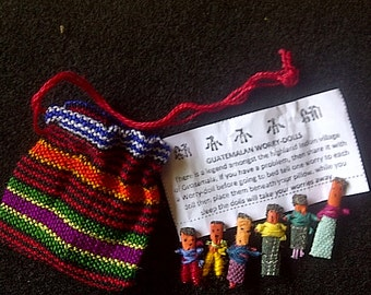 Trouble Dolls or Worry Dolls from Guatemala, Vintage Magic Dolls, 1970's, Party favors