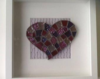 Mosaic Heart in Box Frame