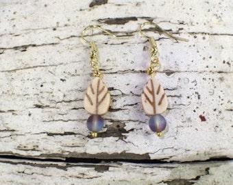 winter leaf earrings