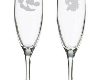 Geeky Wedding retro 8 bit champagne flutes, Retro gaming toasting glasses, nerdy wedding gift, 8bit, video game wedding, Gamer Bridal Shower