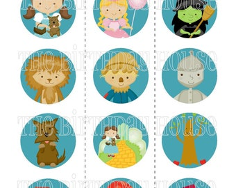 INSTANT DOWNLOAD - PRINTABLE Wizard of Oz Party Rounds - Assorted Dorothy and Friends Party Cupcake Toppers by The Birthday House