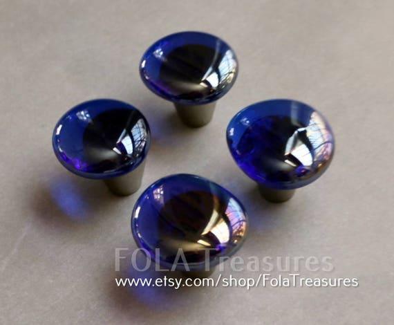 semi transparent cobalt blue art glass cabinet knob pull