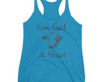 Cowgirl at Heart Women's Racerback Tank   Farm Girl Gift   Farmer Gift   Tank top   Cows   I Love Cows   Farm Tank top