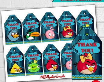 Angry Birds Party, Angry Birds Thank You Tags, Angry Birds Birthday Party Thank You Tags, instant download