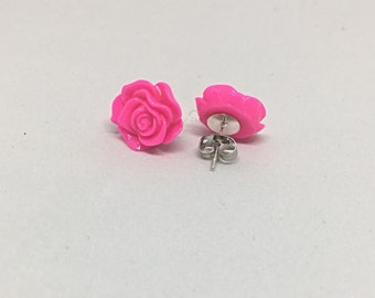 Hot pink rose earrings on nickel free studs - Pink roses - Rose earrings - Nickel Free Earrings - Gift under 10 - 13mm - Gift for her
