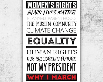 Womens March Protest Poster // PRINTABLE Digital protest Sign // Anti-Trump Sign