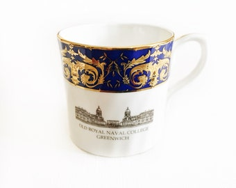 Vintage coffee cup demitasse small teacup mug English china navy blue espresso Turkish coffee cup Old Royal Naval College Greenwich cup