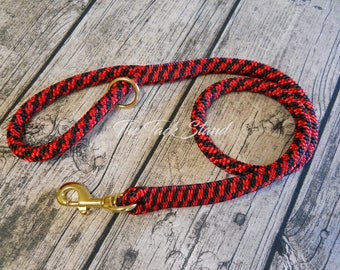 "3 1/3"" Red & Black Checker High Quality Polyester 9/16"" Spliced Rope Dog Leash with Brass Snap PRE-MADE and Ready to Ship!"