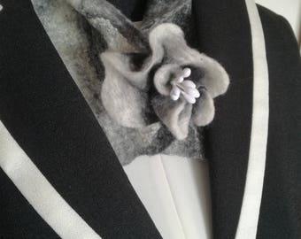 Merino silk nuno felted scarf, collar or neckwarmer. Black and white, handmade brooch