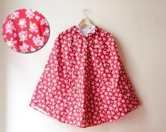 Floral Raincoat, Burgundy and Pink Roses Romantic Rain Cape with Hood, Retro Waterproof Cape, Autumn Weddings