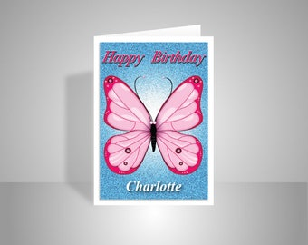 Butterfly personalised birthday card for girl her, Edit name Happy birthday wishes card for aunt friend mom sister, pink, message options