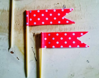 Red Polka Dot Cupcake Toothpick Flags.  Cupcake Decorations.  Flag Toothpicks. Cupcake Toppers