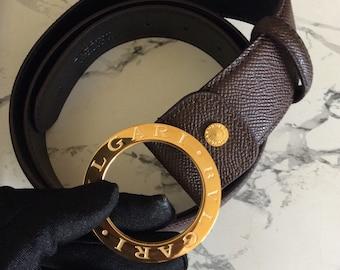 Vintage Bvlgari signature buckle belt in brown