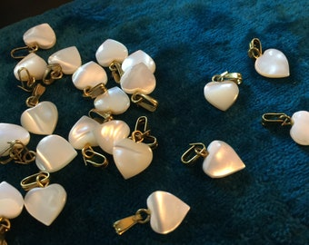 12 Vintage Mother of Pearl Heart Charms Beads