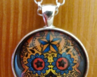 Day of the Dead Necklace-Dia de los Muertos-Halloween Pendant-Scary Face-Skull-Silver Bezel Tray-Glass Dome-Colorful