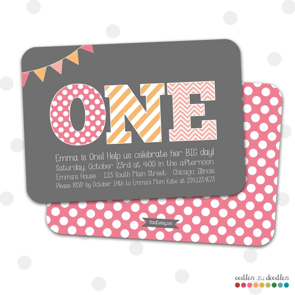 1st Birthday Invitation Girl\'s First Birthday Invitation