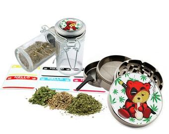 "Deadpool Bear Smoking - 2.5"" Zinc Alloy Grinder & 75ml Locking Top Glass Jar Combo Gift Set Item # 50G21916-5"