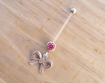 Bow Pregnancy Belly Button Ring, Bioflex 14 Gauge, Maternity Jewelry, Crystal Navel Piercing.