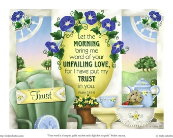 INSTANT DOWNLOAD Printable Scripture Illustration - Morning on the Porch Still Life - Morning Glories, Coffee, Sunshine - Psalms 143:8