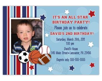 All Star Sports Birthday Photo Card Invitation (You Print)