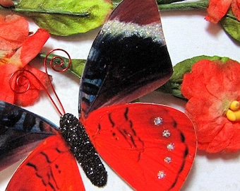 Butterfly Embellishments Lady in Red