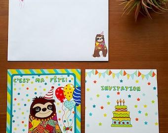 Invitation card for birthday boys party sloth party invitation card invitation cards