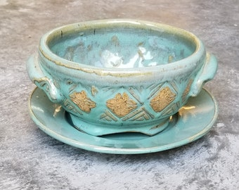 Green Celtic Berry Bowl,  small,trinity knot,   Colander, Handmade Pottery, made in usa