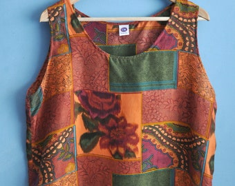 Vintage 90s pattern silk top, sleeveless silk tank top, summer top, orange and green floral print top, hipster 90s top, size XL