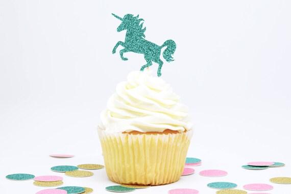Unicorn Cupcake Toppers - Aqua Blue Glitter - First Birthday Decor. Unicorn Party Decor. Birthday. Bachelorette Party. Birthday Party Decor.