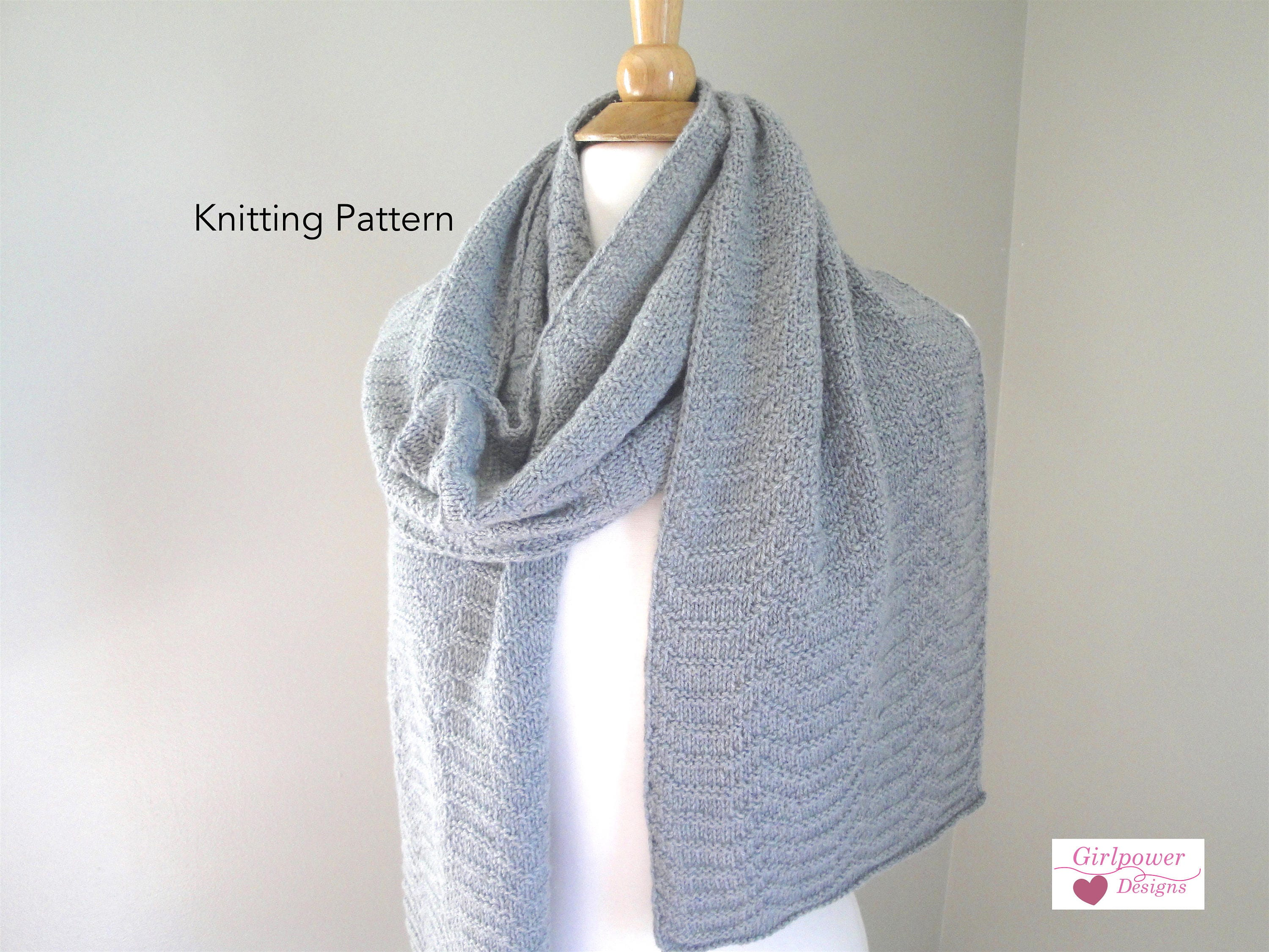 Chevron Scarf Knitting Pattern, Ripple Scarf, Sport Weight Yarn ...