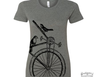 Womens SPARROW BIKE T Shirt -hand screen printed s m l xl xxl (+ Colors Available) custom